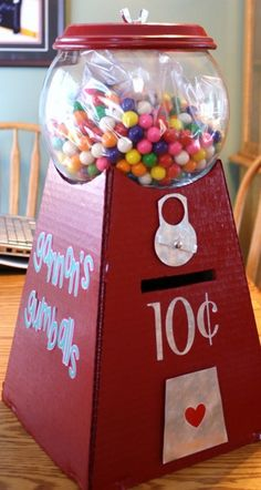 A homemade gumball machine with a slot for valentine cards. #BabyCenterBlog