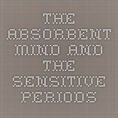 The Absorbent Mind and the Sensitive Periods