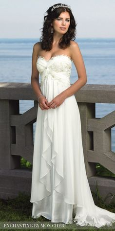 Embroidered Chiffon Tiered Wedding Gown by Mon Cheri Enchanting