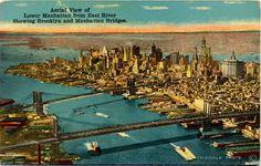 Lower Manhattan Aerial View Brooklyn Bridge New York City Vintage Postcard