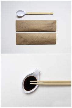 Chopsticks and spoon in one! The spoon can also be used as a small dipping bowl for soy sauce.