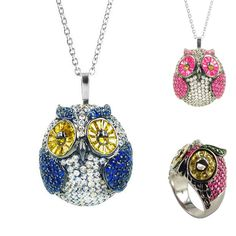 """Hoot Hoot.  Our """"Owly"""" jewelry in vibrant sapphire, ruby & citrine. #SummerWithPlukka"""