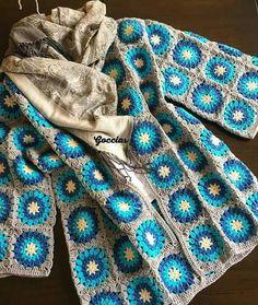 Crochet Jacket, Crochet Cardigan, Knit Or Crochet, Crochet Shawl, Crochet Bikini, Granny Square Crochet Pattern, Crochet Squares, Crochet Granny, Crochet Patterns