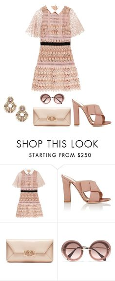 """""""Untitled #961"""" by rubysparks90 ❤ liked on Polyvore featuring self-portrait, Gianvito Rossi, Tory Burch, Miu Miu and Heidi Daus"""