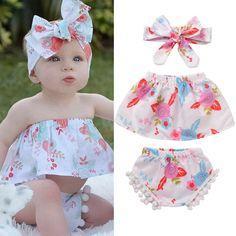3Pcsborn Infant Baby Girls Shirt Tops Dress+Pants Shorts Outfits Clothes Set