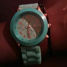 Watch Baby blue rubber band watch Geneva  Accessories Watches
