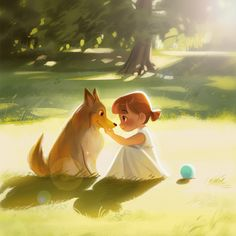 Art And Illustration, Book Illustrations, Magazine Illustration, Character Illustration, Character Art, Character Design, Girl And Dog, Cute Cartoon Wallpapers, Anime Scenery