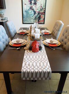 Orange, Gray, Gold, & White Thanksgiving Tablescape #thanksgiving #tablescape #modern