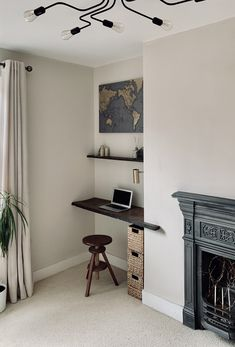 I love this little corner of the house. Edwardian Fireplace, Hessian, Entryway Bench, Corner, Desk, Natural, House, Furniture, Home Decor