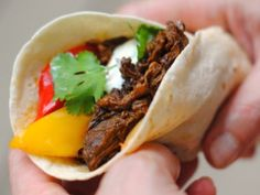 Carnita Style Beef Tacos With Roasted Peppers and Onions,  this is one of our favorite meals.  So much flavor.