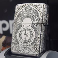 Regular Zippo Sterling Silver White Tara Buddhism Lighter
