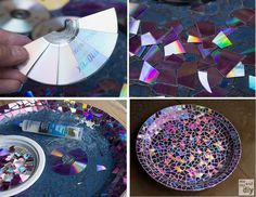 Recycling Old music CD's : cut & paste on a shallow bowl or plant tray, add a coat of water-sealant & use in the garden for a pretty bird bath.