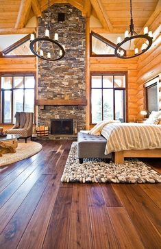 Modern Okanagan log home with a warm rustic feel. We would love to sleep in this country cabin escape! #rustichomedecor #LuxuryBeddingCabin