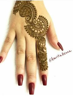 Explore latest Mehndi Designs images in 2019 on Happy Shappy. Mehendi design is also known as the heena design or henna patterns worldwide. We are here with the best mehndi designs images from worldwide. Back Hand Mehndi Designs, Finger Henna Designs, Indian Mehndi Designs, Mehndi Designs For Girls, Mehndi Designs For Beginners, Modern Mehndi Designs, Mehndi Designs For Fingers, Latest Mehndi Designs, Henna Tattoo Designs