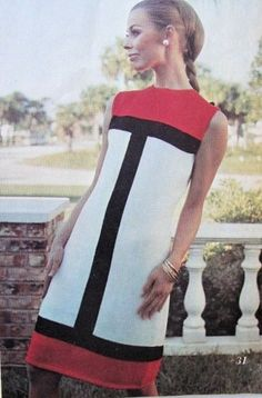 Knitting Crochet INSTANT PDF Pattern Mod Mondrian Color Block Mini Dress 1960s Easy Shift Dress