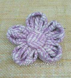 Handmade Wool Tweed Fabric Flower Brooch ideal by JustSewYorkshire