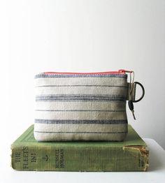 Wallet for Women Stripe Linen Mini Zipper by HummingbirdFactory, $10.00
