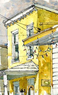 watercolor buildings