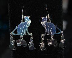 Vintage Dangle Multi Kitty Cat Earrings #BKC-KERNG85 by BadKittyCrafts on Etsy