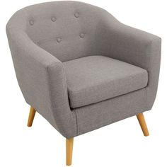 Rockwell Mid Century Modern Accent Mid-century Modern Chair in Light... ($300) ❤ liked on Polyvore featuring home, furniture, chairs, accent chairs, light gray accent chair, mid century style furniture, light gray furniture, mid century modern accent chair and mid century chair