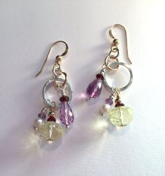 Gold & Silver Multi-Gemstone Earrings by SpiralVineDesigns on Etsy
