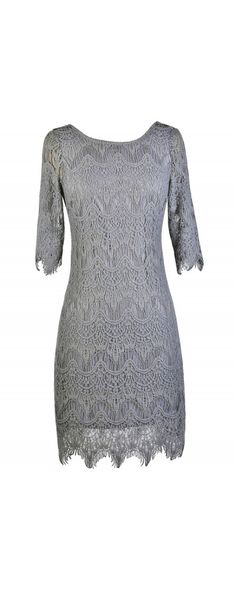 Vintage-Inspired Lace Overlay Dress in Grey