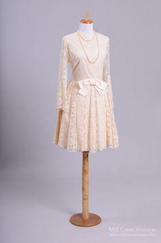 1960 Sheer Lace Vintage Wedding Dress