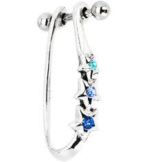 Silver 925 Multi Blue CZ Star Right Helix Cartilage Earring | Body Candy Body Jewelry #bodycandy