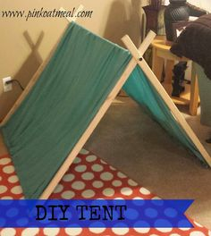 Easy tent using a twin bedsheet! Love this tent for playroom or reading area! Party Activities, Activities For Kids, Preschool Ideas, Craft Ideas, Diy For Kids, Crafts For Kids, Diy Tent, Kids Tents, Camping Theme