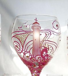 Pink Lighthouse Wine Glass Hand Painted Goblet - sackettdoodles