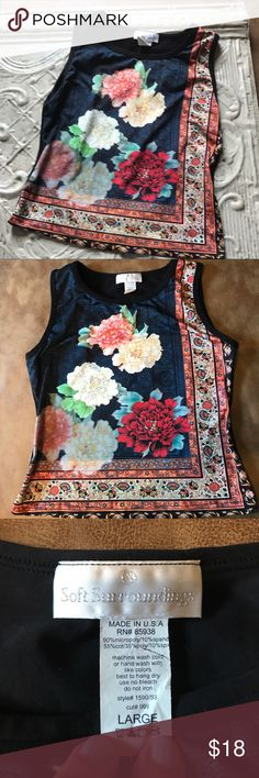 Soft surroundings tank with floral front. Soft surroundings tank, size large. Beautiful floral print on front of tank. Excellent condition. Thanks for visiting my closet! soft surroundings Tops Tank Tops