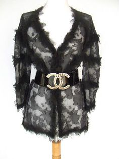 CHANEL  8K  GORGEOUS  RUNWAY BLACK SILK FANTASY LACE DRESS JACKET SHIRT TOP  NEW  CHANEL  Blazer 33f9eedb30a