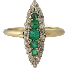 @rubylanecom Larter Victorian 14K Gold Navette Shaped Diamond & Emerald Ring
