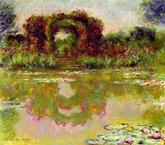 artist-monet: Rose Arches at Giverny via Claude Monet Monet Paintings, Impressionist Paintings, Landscape Paintings, Flower Paintings, Claude Monet, Artist Monet, Art Japonais, Pierre Auguste Renoir, Famous Art