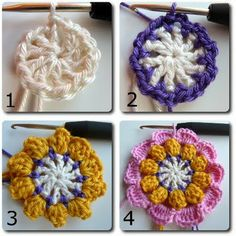 bees, crochet flower, popcorn flower, flower tutorial, crochet patterns, bavarian crochet tutorial, flower crochet, bavarian popcorn, flower patterns