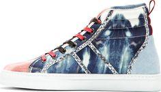 MSGM Blue & Pink Watercolor Print High-Top Sneakers