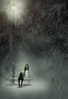 The time I spent in the snow on a bench under a Light post ღ       Lovely Fool by Pascal Campion