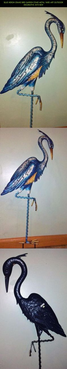 """Blue Heron Crane Bird Garden Stake Metal Yard Art Outdoor Decorative 34""""H NEW #gadgets #parts #fpv #decor #products #yard #plans #technology #outdoor #camera #tech #drone #stakes #kit #racing #shopping"""
