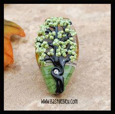 Crystal Tree of Life focal- BBL Handcrafted Lampwork Glass Beads SRA Green Black Swarovski