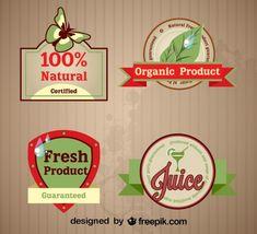 Juego de etiquetas retro de productos orgánicos frescos.