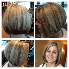 Heavy blond highlights and stacked layed bob haircut. Love this hair makeover
