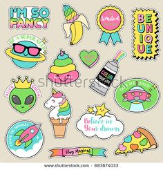 Set of fashion patches, pastel badges, fun cartoon icons design in cute fancy concept