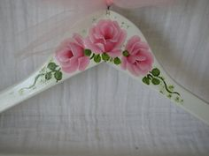 Clothes Hanger Adult Size Hand Painted Shabby Chic Pink Roses Wood White