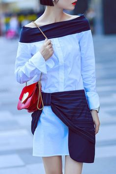 Off The Shoulder Blouse and Stripe Skirt #fashionismypassion