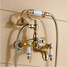 99.00$  Watch here - http://ali1ys.worldwells.pw/go.php?t=32715259215 - Solid Brass Golden Polish Ceramic Crystal Dual Handles Shower Bathtub Faucet Tap