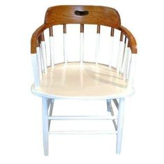 Windsor Spindle Back Chair 2-Tone Natural & White - $925 on Chairish.com