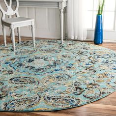 nuLOOM Modern Vintage Paisley Aqua Rug (8' Round) | Overstock.com Shopping - The Best Deals on Round/Oval/Square