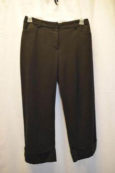 Briggs New York Size 8 Black Dress Capri Pants Business Work 2 Pockets Belt Loop #BriggsNewYork #CaprisCropped