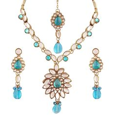 Party Wear Ethnic Gold Plated Blue Stone Kundan Bollywood Women Necklace Set #natural_gems15