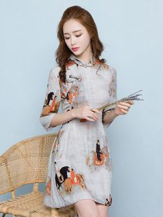 Modern Linen Qipao / Cheongsam Dress with Chinese Painting Print